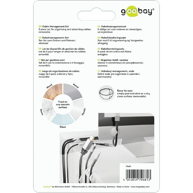 Goobay Cable Management Set - White, , hi-res