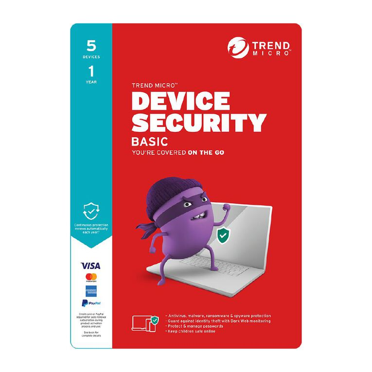 Trend Micro Device Security Basic 5 Device 1 Year Subscription, , hi-res