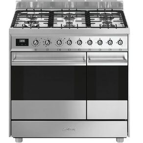 SMEG Freestanding 90cm Stainless Steel Double Oven, Dual Fuel Cooker with Gas Cooktop