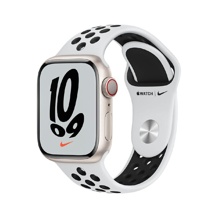 Apple Watch Nike Series 7 Cellular, 41mm Starlight Aluminium Case with Pure Platinum/Black Nike Sport Band - Regular, , hi-res
