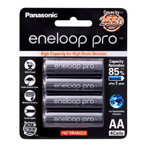 Panasonic Eneloop Pro AA Size Rechargeable Batteries 4 Pack