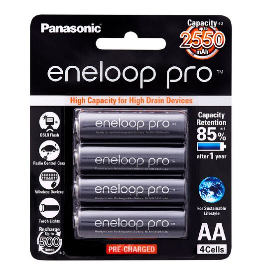 Panasonic Eneloop Pro AA Size Rechargeable Batteries 4 Pack