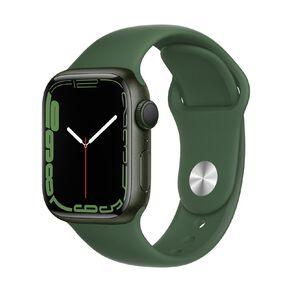 Apple Watch Series 7 GPS, 41mm Green Aluminium Case with Clover Sport Band - Regular