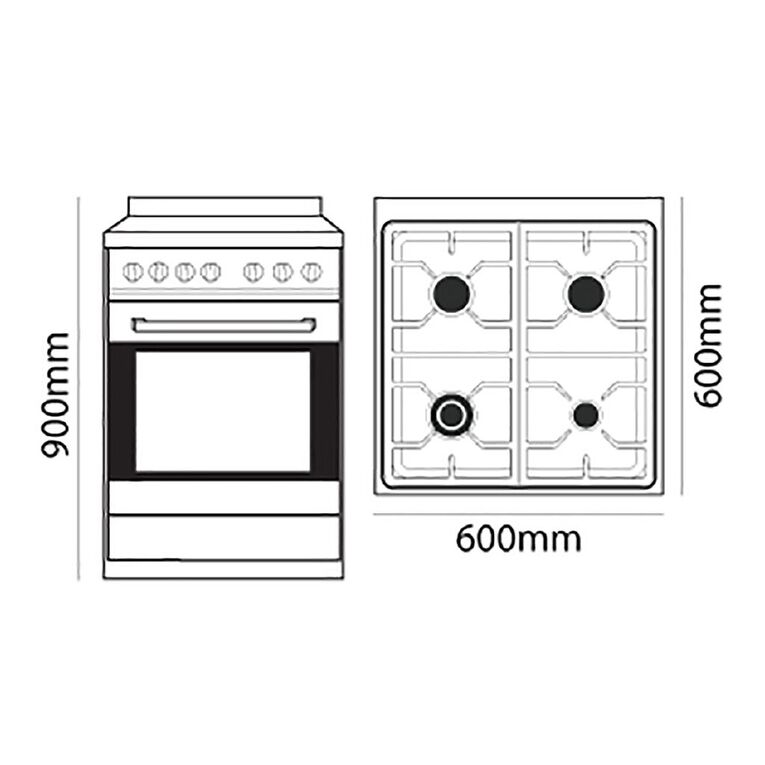 Parmco 60cm Freestanding Gas Oven w/ Gas Cooktop - Stainless Steel, , hi-res