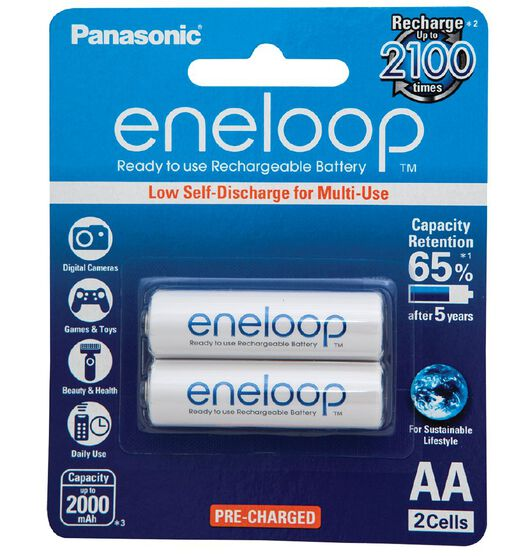 Panasonic Eneloop AA Size Rechargeable Batteries 2 Pack