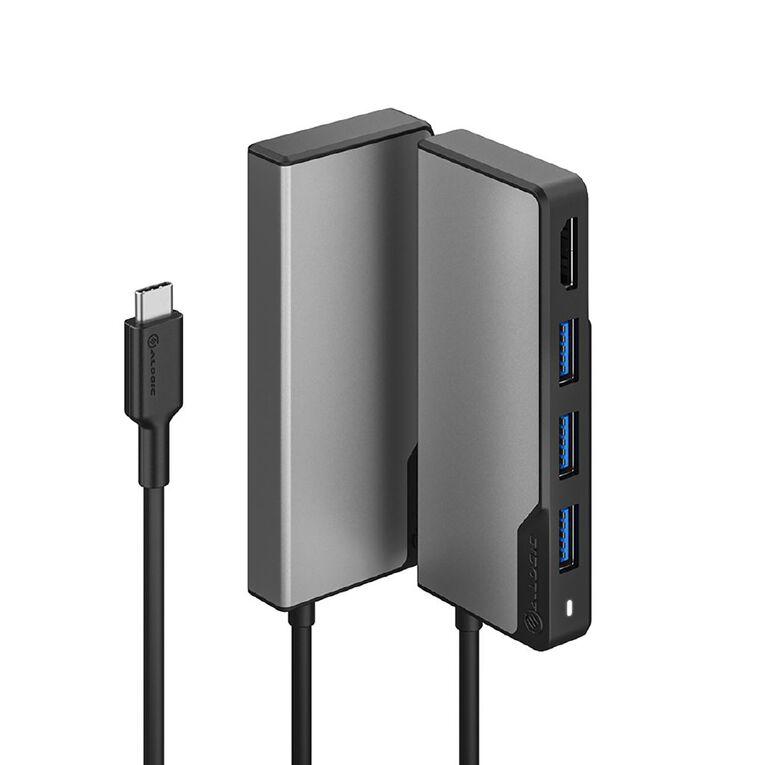 Alogic USB-C Fusion Core 5-in-1 HDMI & USB HUB- 1 X HDMI@4K@60HZ 3 X USB-A (USB3.0) 1 X USB-C (DATA + PD) - Space Grey, , hi-res