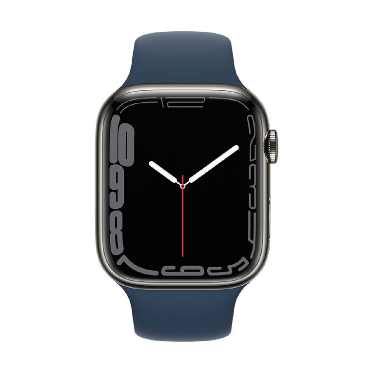 Apple Watch Series 7 Cellular, 45mm Graphite Stainless Steel Case with Abyss Blue Sport Band - Regular, , hi-res