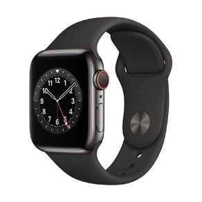 Apple Watch S6 CEL, 40mm Graphite SS Case w Black Sport Bd - Rglr