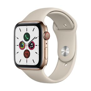 Apple Watch S5 GPS+LTE,44mm Gold Stainless Steel Case w Stone Sport Band - S/M & M/L