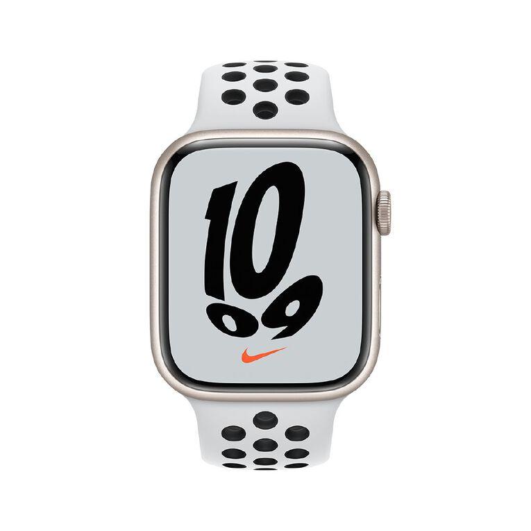 Apple Watch Nike Series 7 Cellular, 45mm Starlight Aluminium Case with Pure Platinum/Black Nike Sport Band - Regular, , hi-res