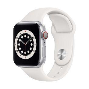 Apple Watch S6 CEL, 40mm Silver Alum Case w White Sport Bd - Rglr