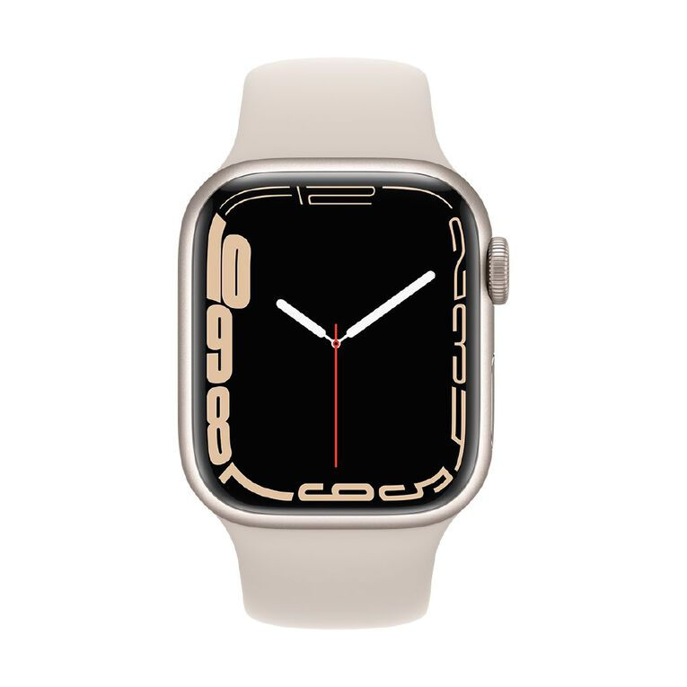 Apple Watch Series 7 Cellular, 41mm Starlight Aluminium Case with Starlight Sport Band - Regular, , hi-res