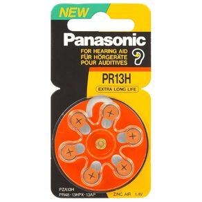 Panasonic Hearing Aid PR48 Batteries 6 Pack