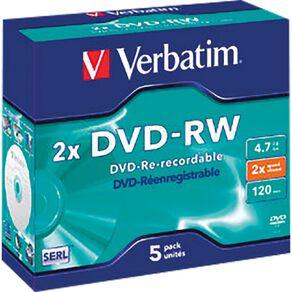Verbatim DVD-RW 2x 4.7GB 5 Pack Jewel Case