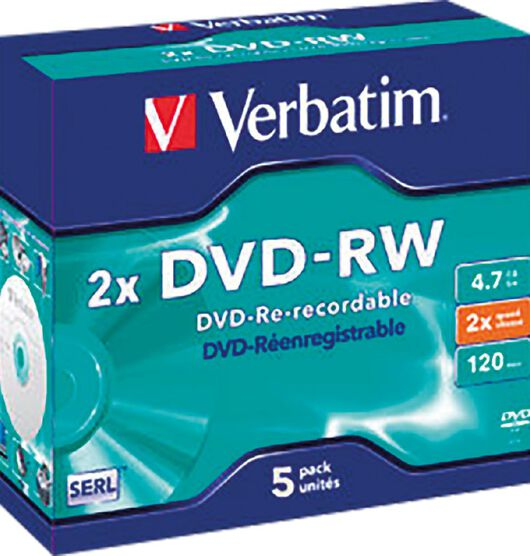 Verbatim DVD-RW 2x 4.7GB 5 Pack Jewel Case