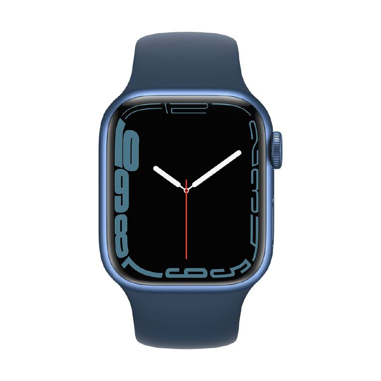 Apple Watch Series 7 GPS, 41mm Blue Aluminium Case with Abyss Blue Sport Band - Regular, , hi-res