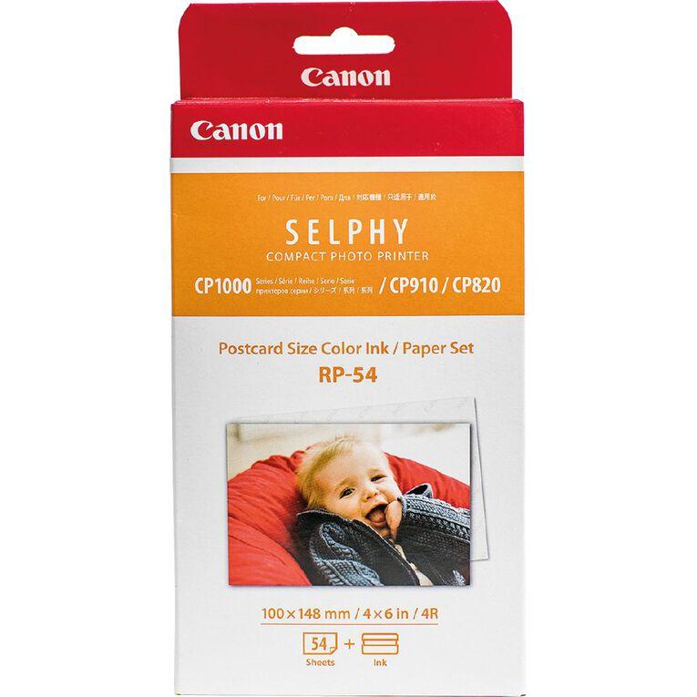 Canon Selphy Colour Ink / Postcard Size (4x6) Paper Set - 54 Pack, , hi-res