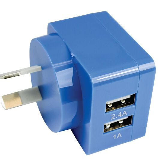 Endeavour Dual USB to Wall Charger 3.4A Blue