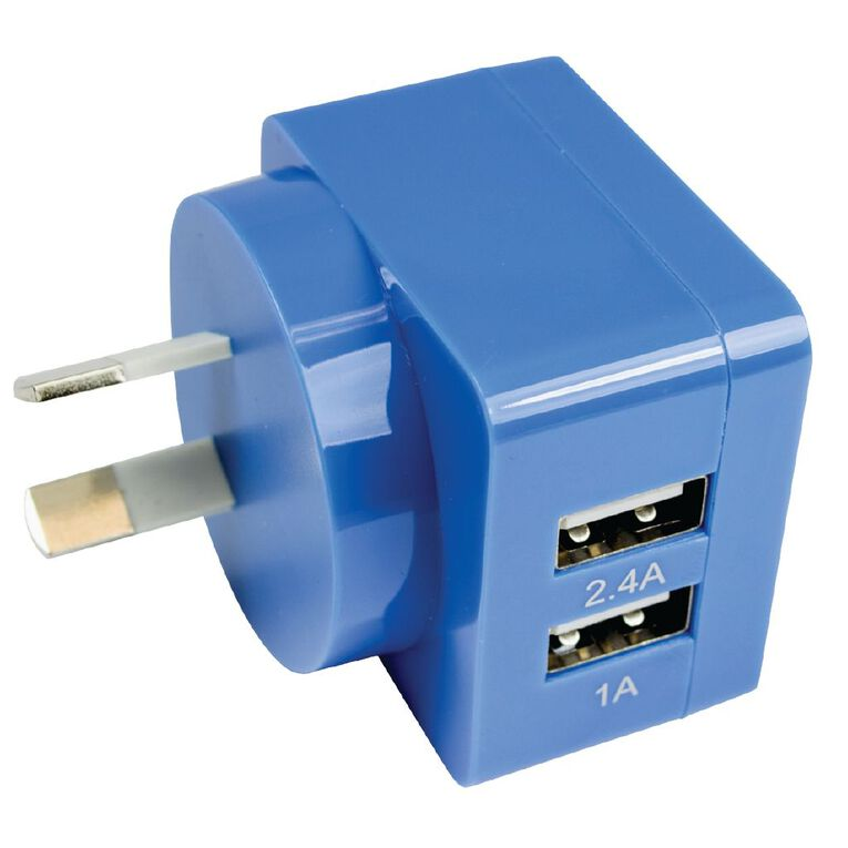 Endeavour Dual USB to Wall Charger 3.4A Blue, , hi-res