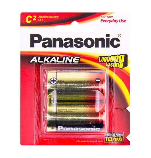 Panasonic C Size Alkaline Batteries 2 Pack