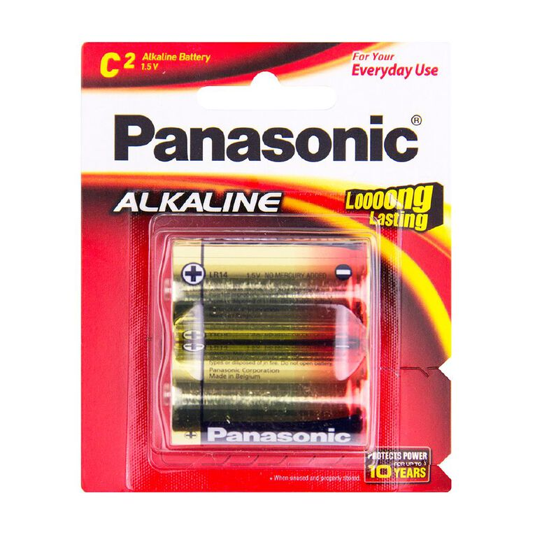 Panasonic C Size Alkaline Batteries 2 Pack, , hi-res