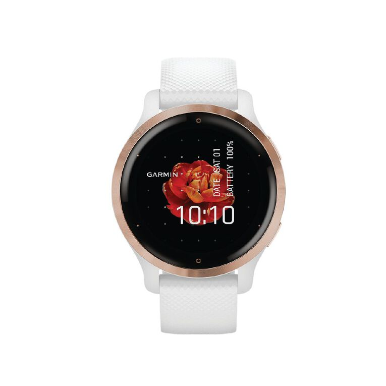 Image of Garmin Venu 2S Rose Gold Bezel with White Case and Silicone Band