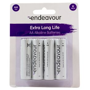 Endeavour AA Size Alkaline Battery 8 Pack
