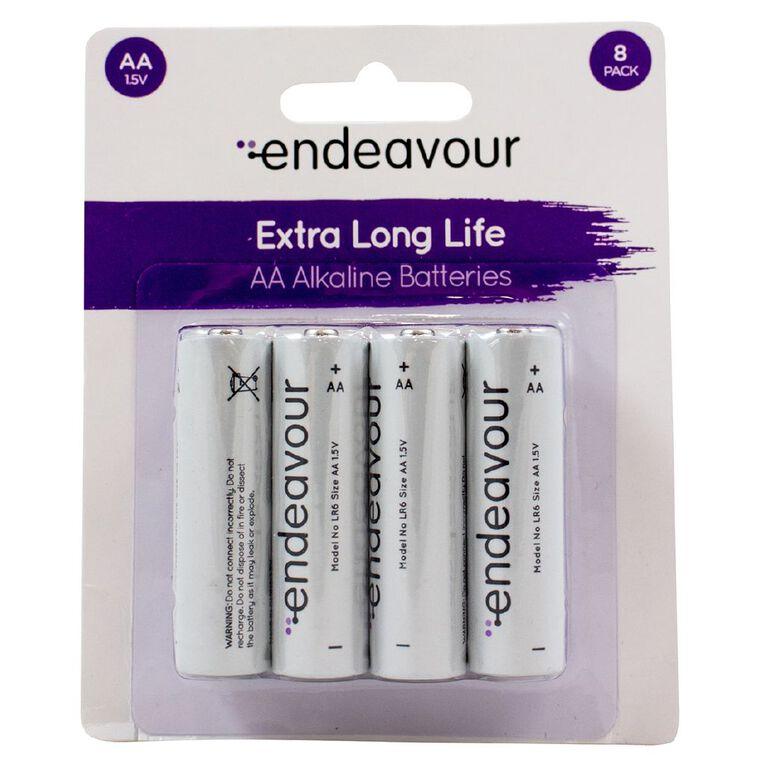 Endeavour AA Size Alkaline Battery 8 Pack, , hi-res