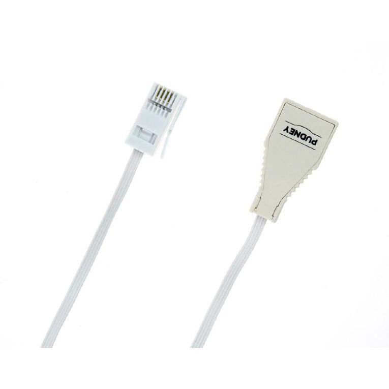Pudney & Lee NZ Phone Cord Plug to Socket 4 metres, , hi-res