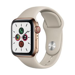 Apple Watch S5 GPS+LTE,40mm Gold Stainless Steel Case w Stone Sport Band - S/M & M/L