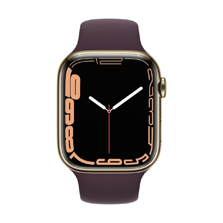 Apple Watch Series 7 Cellular, 45mm Gold Stainless Steel Case with Dark Cherry Sport Band - Regular, , hi-res