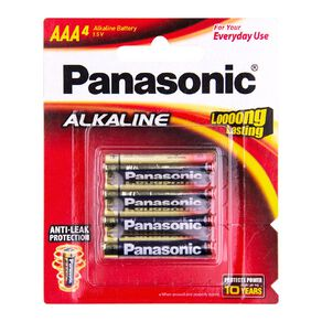 Panasonic AAA Size Alkaline Batteries 4 Pack
