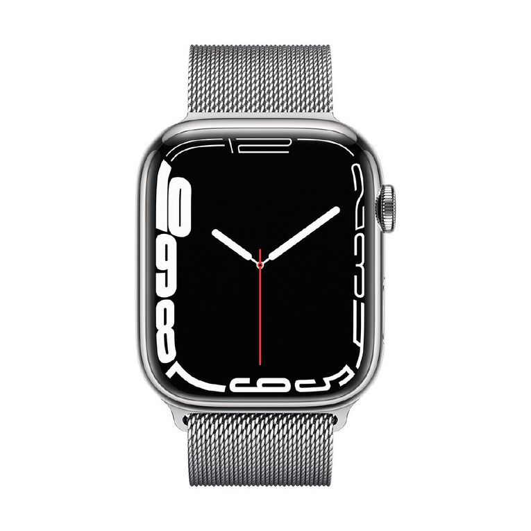 Apple Watch Series 7 Cellular, 45mm Silver Stainless Steel Case with Silver Milanese Loop, , hi-res