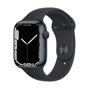 Apple Watch Series 7 Cellular, 45mm Midnight Aluminium Case with Midnight Sport Band - Regular