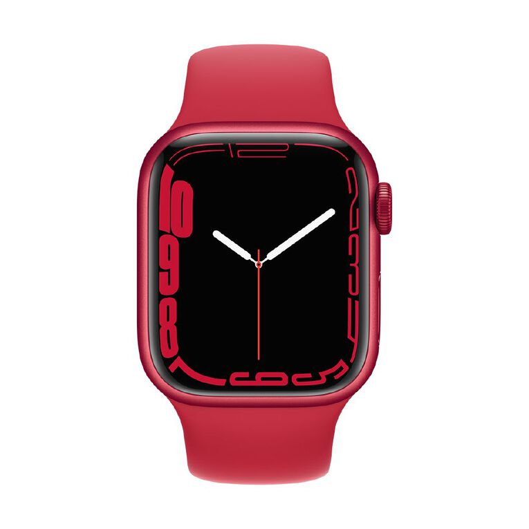 Apple Watch Series 7 GPS, 41mm (PRODUCT)RED Aluminium Case with (PRODUCT)RED Sport Band - Regular, , hi-res