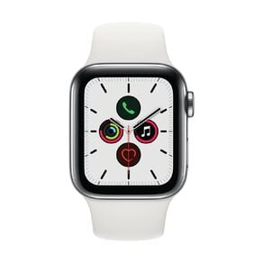 Apple Watch S5 GPS+LTE,40mm Stainless Steel Case w White Sport Band - S/M & M/L