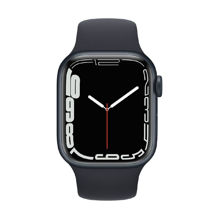 Apple Watch Series 7 Cellular, 41mm Midnight Aluminium Case with Midnight Sport Band - Regular, , hi-res