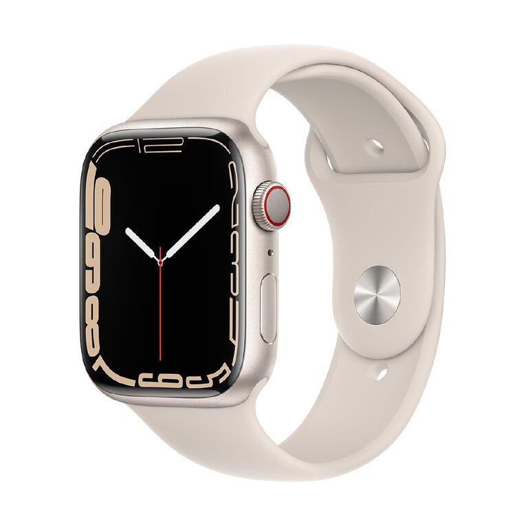 Apple Watch Series 7 Cellular, 45mm Starlight Aluminium Case with Starlight Sport Band - Regular, , hi-res