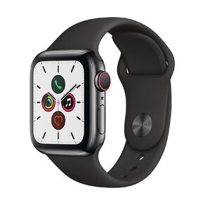 Apple Watch S5 GPS+LTE,40mm Space Black Stainless Steel Case w Black Sport Band - S/M & M/L