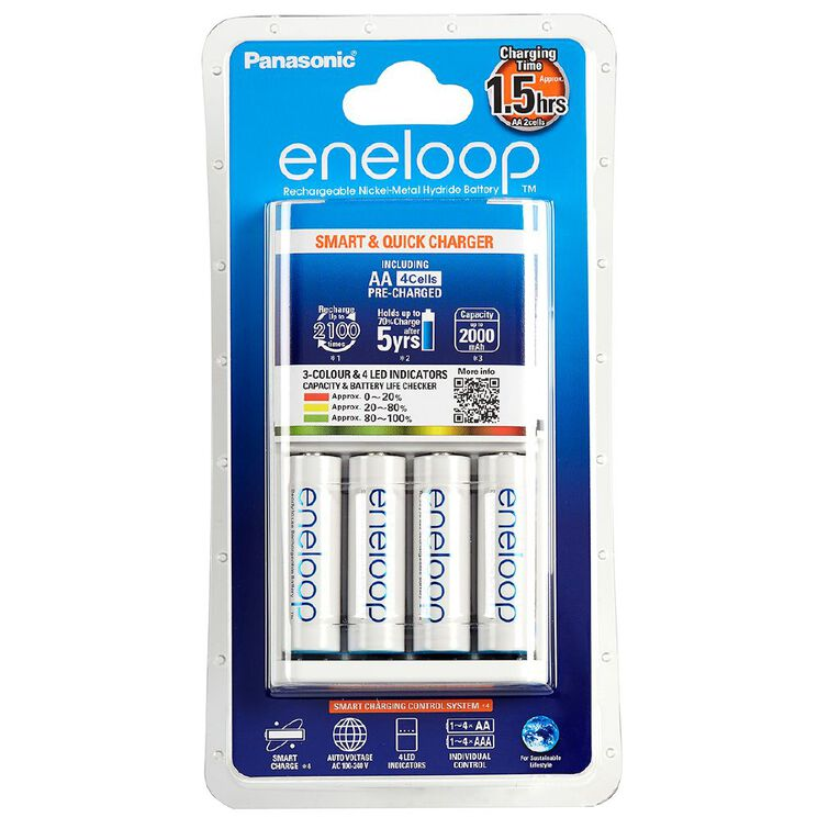 Panasonic Eneloop AA Size Batteries 4 Pack + 3 Hour Quick Charger, , hi-res