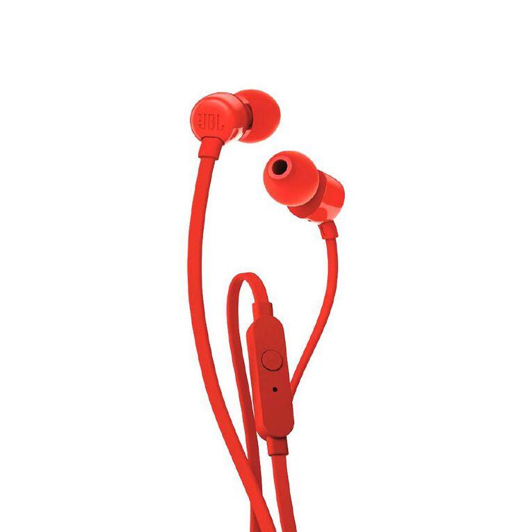 JBL T110 In Ear Headphones - Red, , hi-res