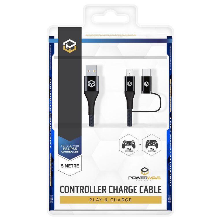 Powerwave PS4 & PS5 5m Controller Charge Cable, , hi-res