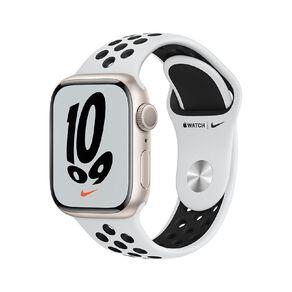 Apple Watch Nike Series 7 GPS, 41mm Starlight Aluminium Case with Pure Platinum/Black Nike Sport Band - Regular