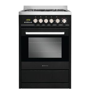 Parmco 60cm Freestanding Electric Oven w/ Gas Cooktop - Black
