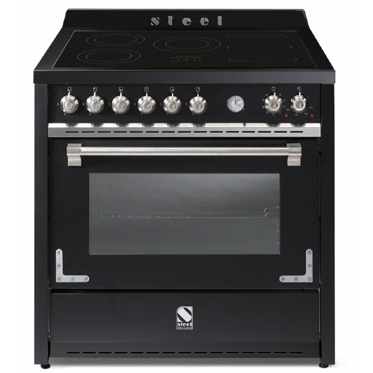 Steel Oxford Freestanding 90cm Multifunction Oven Cooker with Induction Cooktop Black, , hi-res