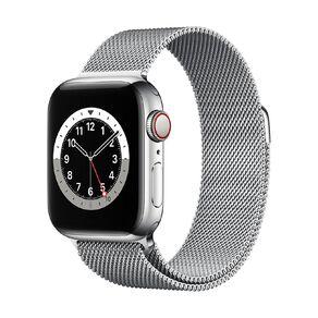 Apple Watch S6 CEL, 40mm Silver SS Case w Silver Milanese Loop