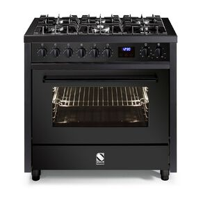 Steel Enfasi Freestanding 90cm 6 Gas Burner Multifunction Electrical Oven Cooker with Gas Cooktop - All Black Edition
