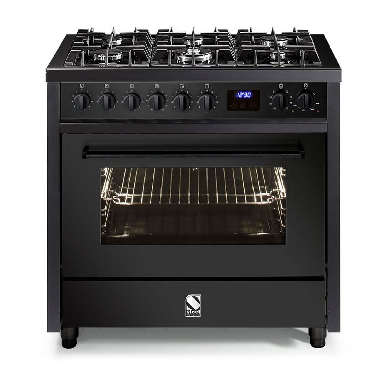 Steel Enfasi Freestanding 90cm 6 Gas Burner Multifunction Electrical Oven Cooker with Gas Cooktop - All Black Edition, , hi-res
