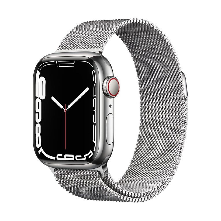 Apple Watch Series 7 Cellular, 41mm Silver Stainless Steel Case with Silver Milanese Loop, , hi-res