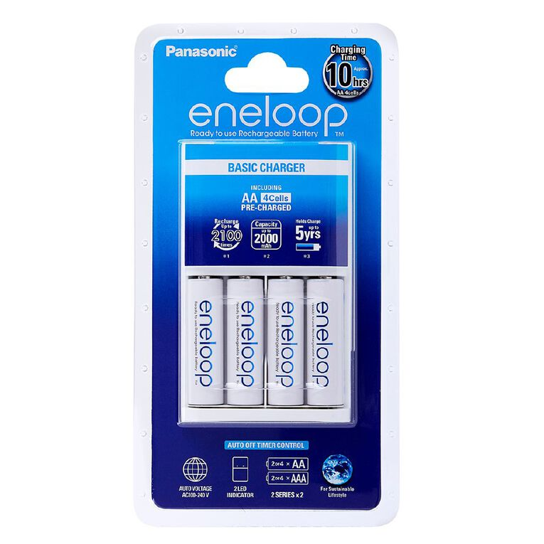 Panasonic Eneloop AA Size Rechargeable Batteries 4 Pack + Overnight Charger, , hi-res